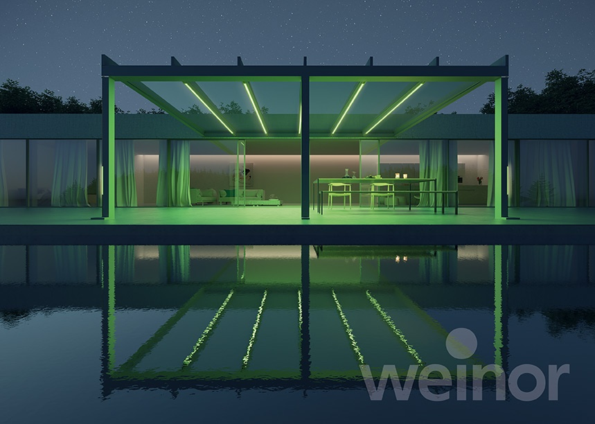 Terrassendach mit grüner Beleuchtung