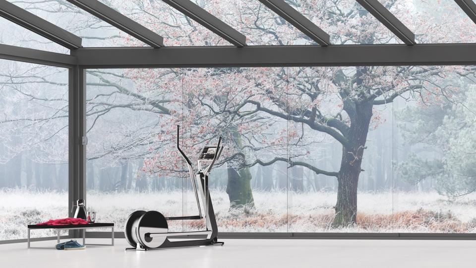 Terrassenüberdachung mit dem Glasschiebesystem Glide