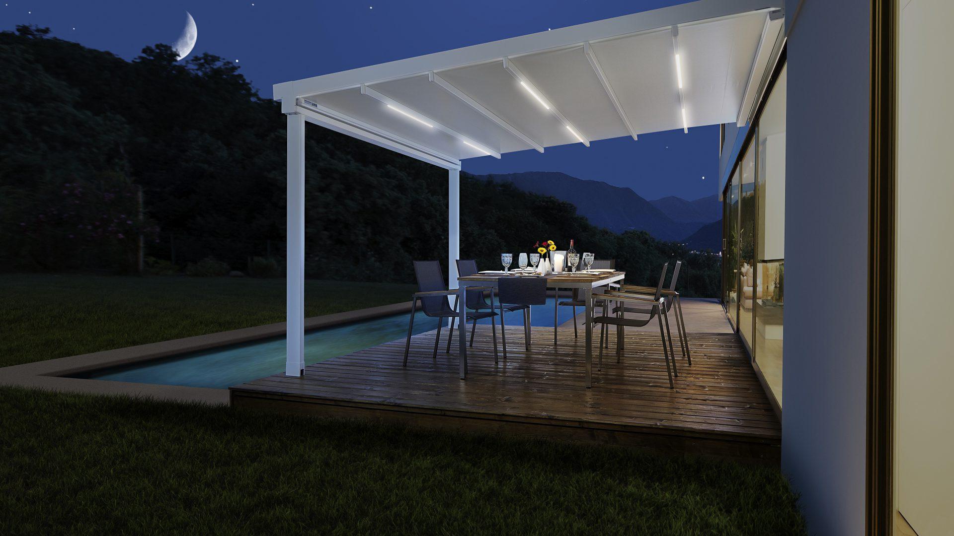 Pergola Terrassendach mit LED-Beleuchtung